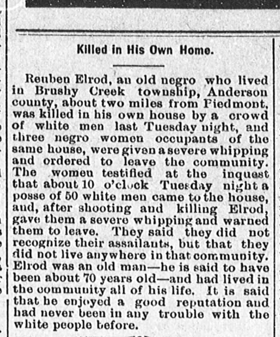 An article on the killing of Reuben Elrod from the July 15, 1903 issue of the Keowee Courier.