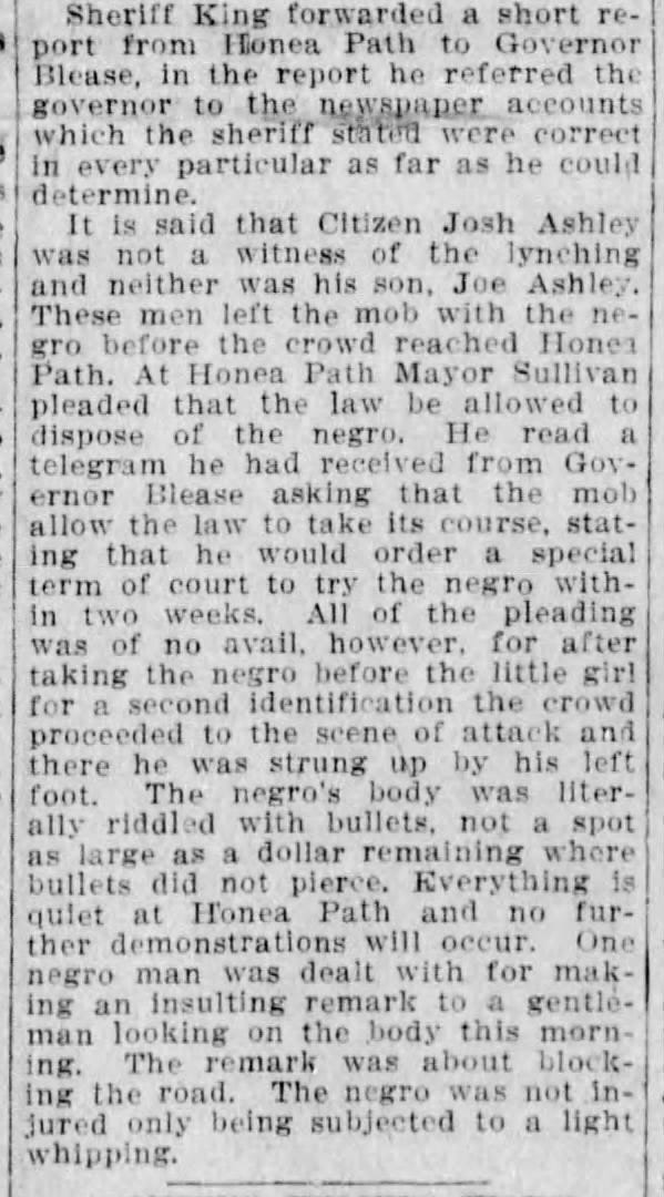 An article on Willie Jackson's lynching in the October 12, 1911 issue of The Greenville News.