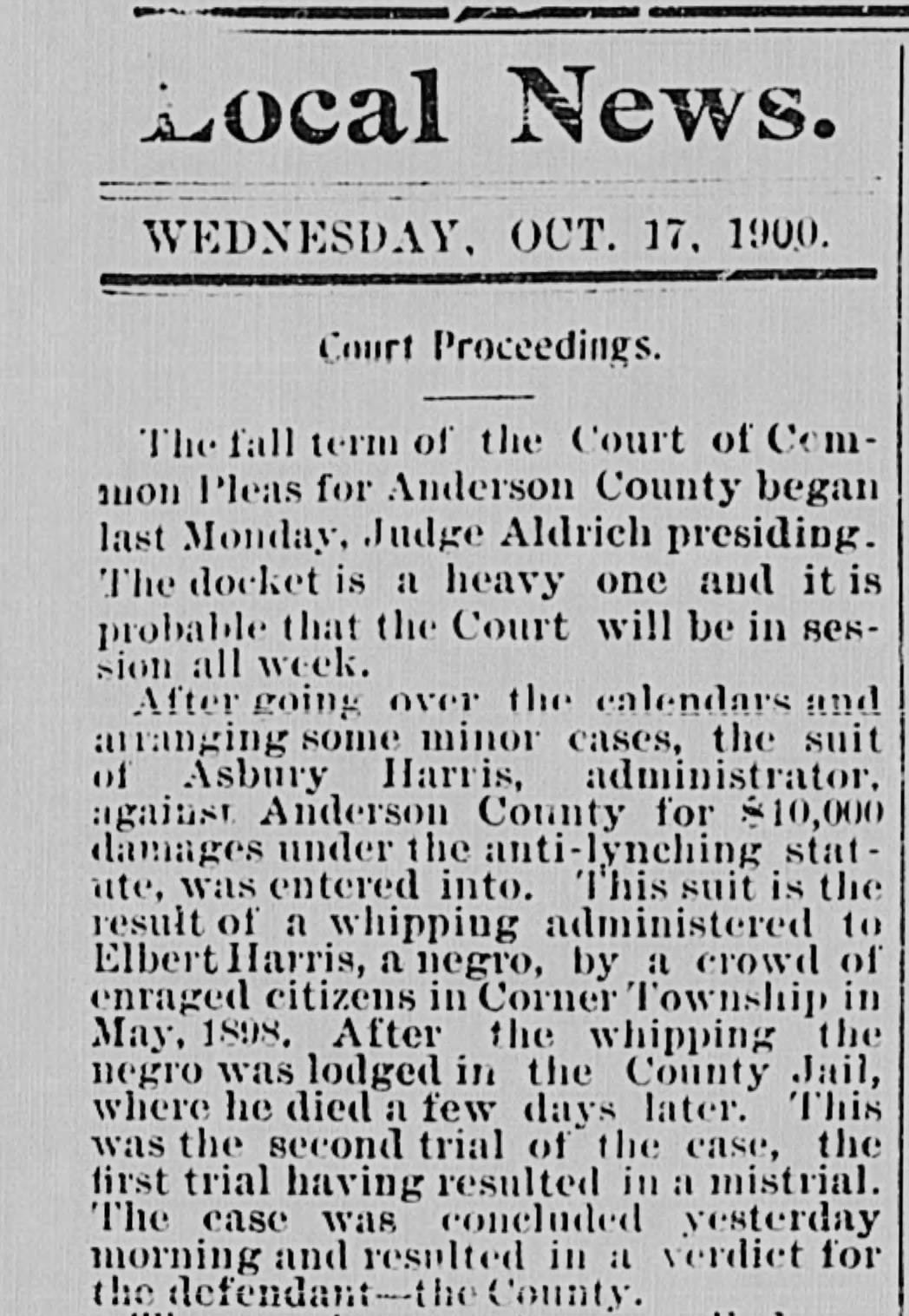A portion of a newspaper article on the case of Elbert Harris from the Oct. 17, 1900 issue of The Intelligencer.