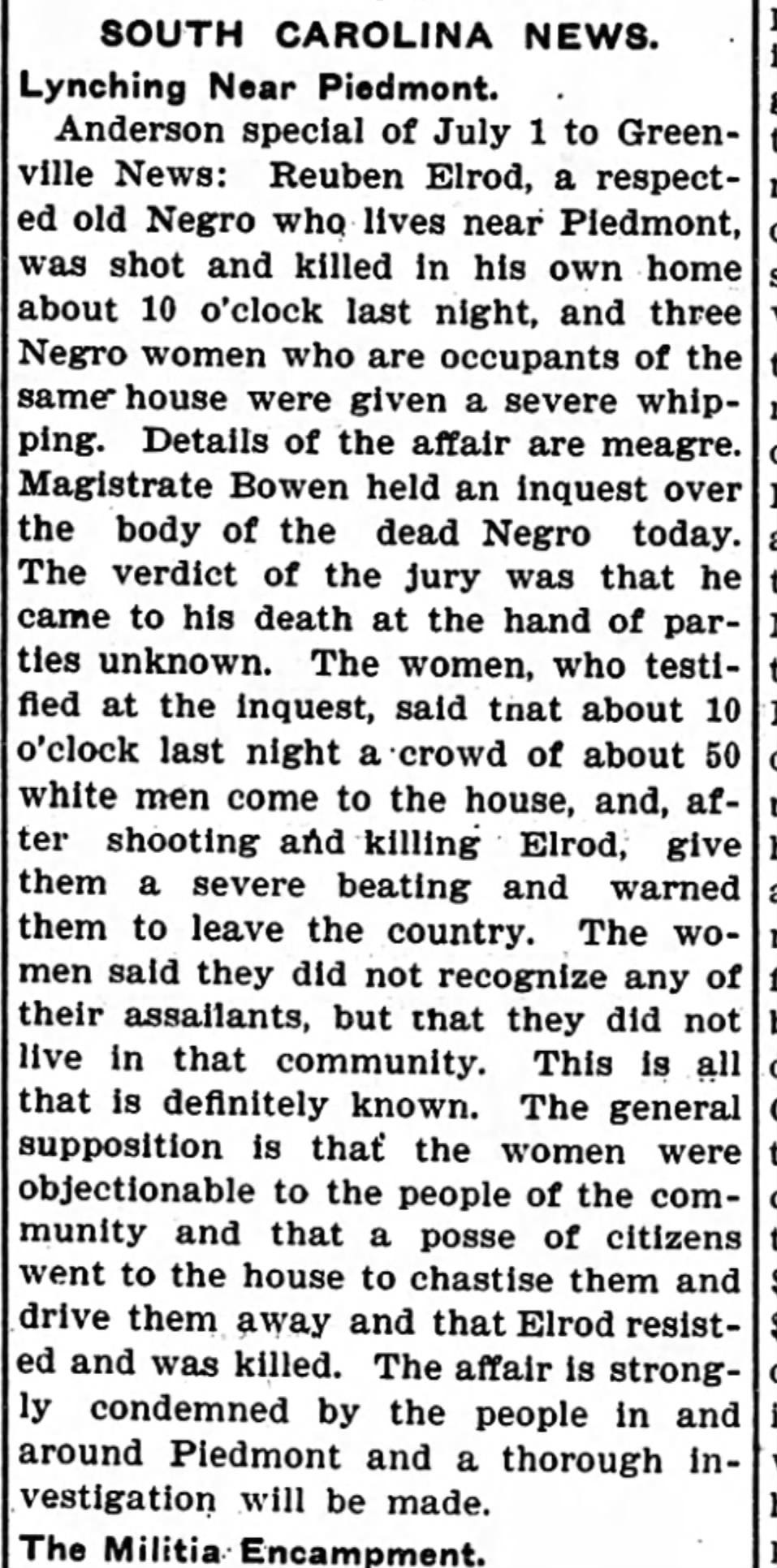 An article on the killing of Reuben Elrod from the July 4, 1903 issue of the Yorkville Enquirer.