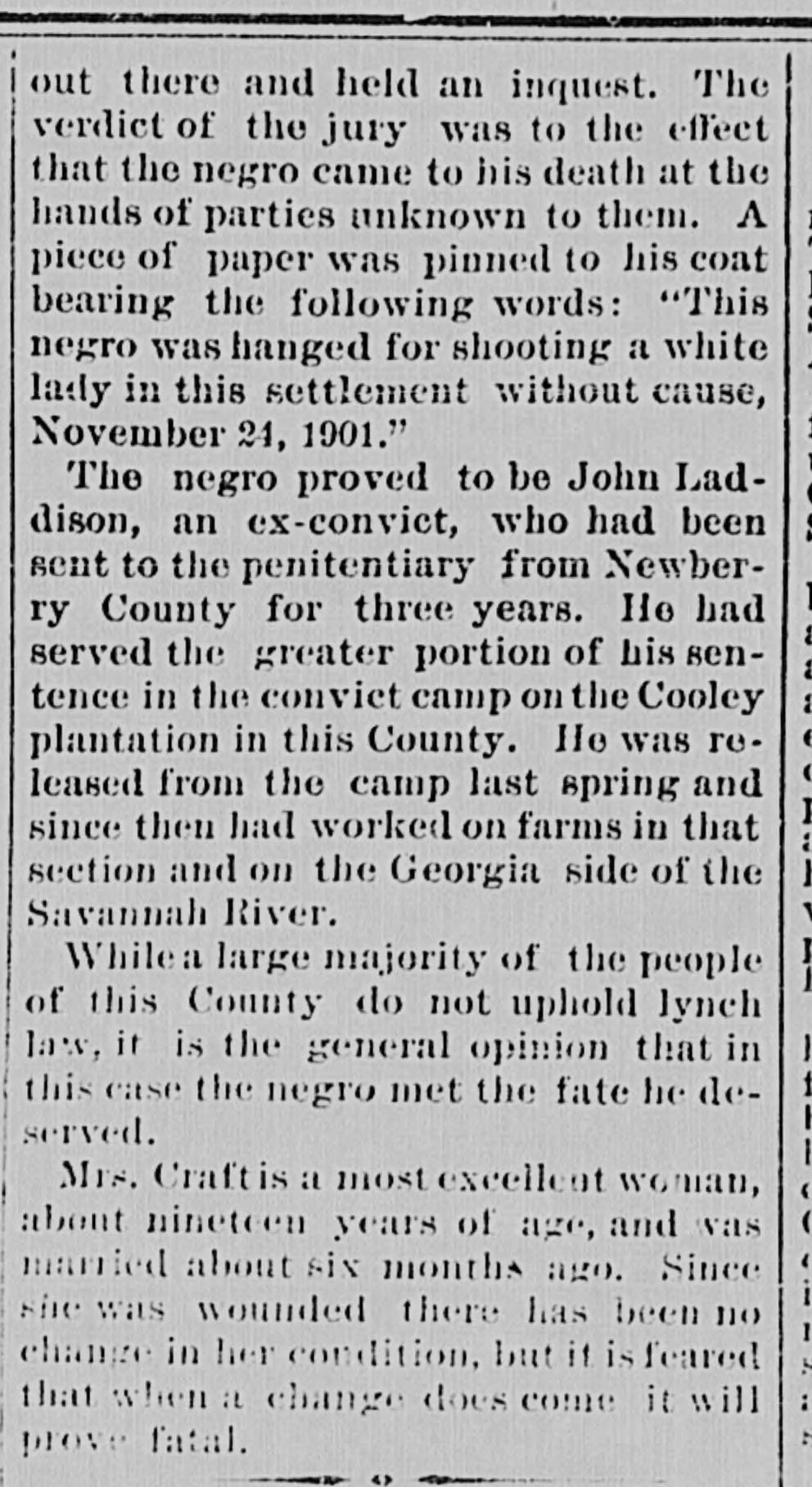 An article written about the lynching of John Laddison in the Nov. 27, 1901, issue of The Intelligencer.