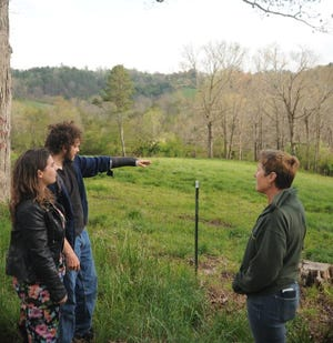 From left, Alexander residents Amanda Grode, Josh Grode and Kristy Moeller discuss Josh's plans to start an apple orchard in the Grodes' backyard on April 20.