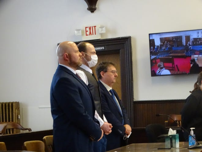 George Wagner IV stands in the Pike County Court of Common Pleas with his attorneys in this April 28, 2021 file photo.