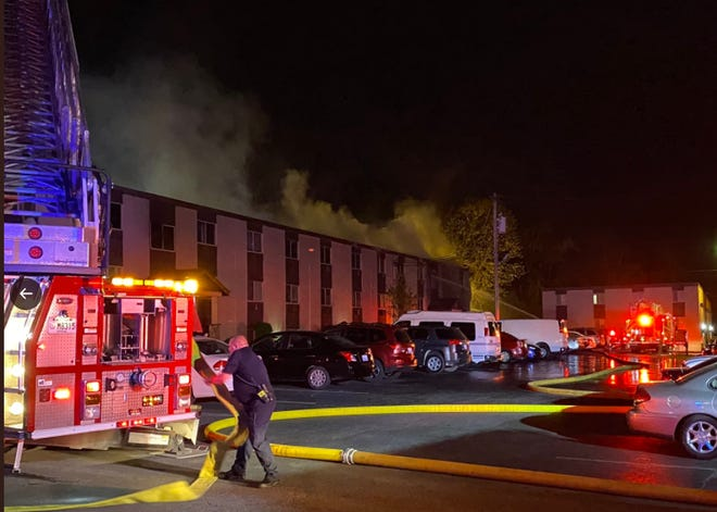 Florence fire department battles a fire at the Champion Club apartments just after 1:30 a.m. Wednesday