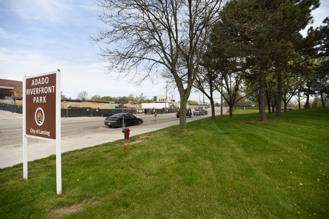 A view of Adado Riverfront Park, where an accessible playground is slated to be built next year, and ongoing construction on LCC's Gannon parking ramp.