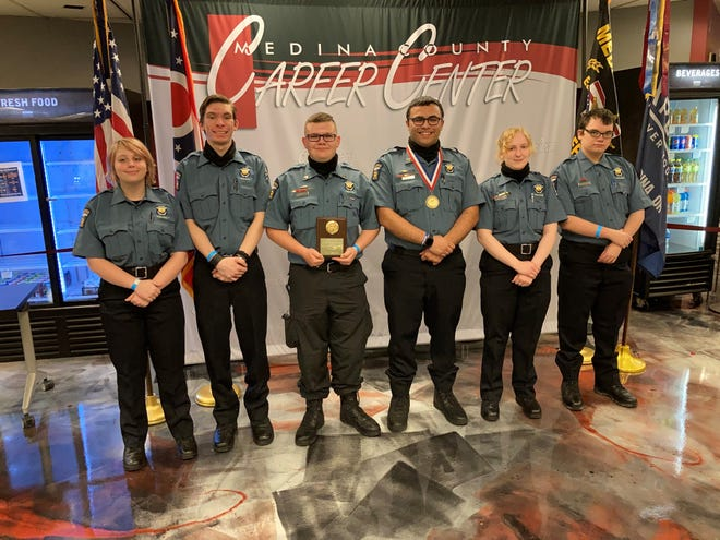 Mansfield police Explorers Post members fared well at the Heart of Ohio Law Enforcement Explorers competition April 24 in Medina. Left to right, Nicole Dunlap, Clayton Price, Jarrod Lemley, Isaiah Morales, Aiden Bailey and Samuel Bohnwagner.