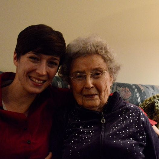 Commercial Appeal reporter Micaela Watts and her grandmother, Evelyn Watts pose for a family photo in 2017 in Evelyn's Lutheran Village apartment.