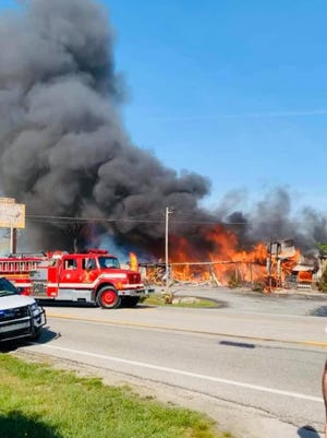 A fire destroyed Jim Oliver's Smoke House Restaurant in Monteagle on Tuesday, April 27, 2021.