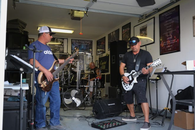 Carlsbad-based band Stranded practices in drummer Raul Ortega's garage, April 27, 2021 in Carlsbad.