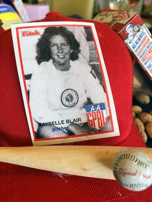 Among the memorabilia on display was a baseball card showing Maybelle Blair.