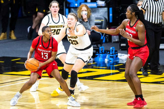 Mael Gilles (13) is transferring from Rutgers to Arizona for her final season of college women's basketball eligibility.