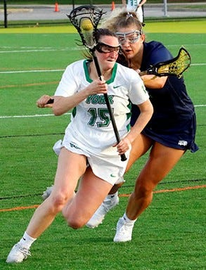 York College's Chloe McDonald had four goals and an assist on Tuesday vs. Hood.