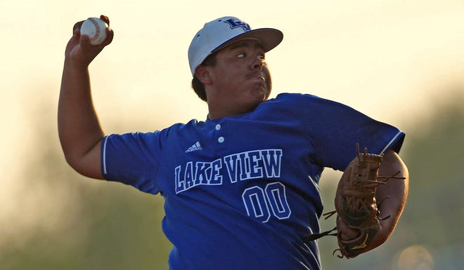 Oscar Obregon delivers a pitch to the plate for Lake View during a game against Estacado on Tuesday, April 27, 2021.