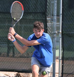 Wall High School tennis player Payne Smith is shown during a practice session at Bentwood Country Club this past September. He will be competing in the UIL Class 3A state tournament next month in College Station.