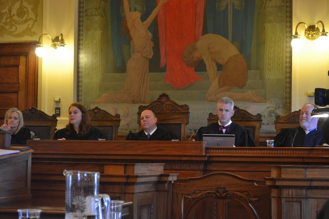 The South Dakota Supreme Court listens to oral arguments in case regarding the legality of Constitutional Amendment A on Wednesday, April 28, 2021.
