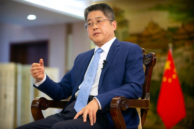 Chinese Vice Minister of Foreign Affairs Le Yucheng on April 16, 2021, in Beijing.
