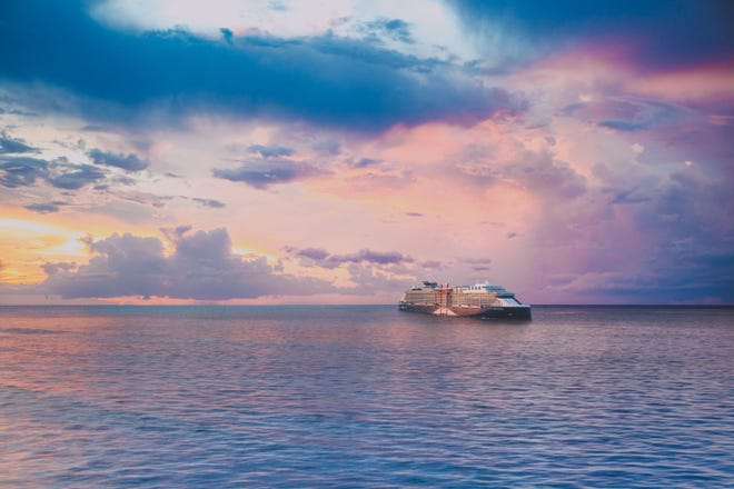 """A rendering of Celebrity Beyond, the third ship in Celebrity Cruises' """"Edge Series."""""""