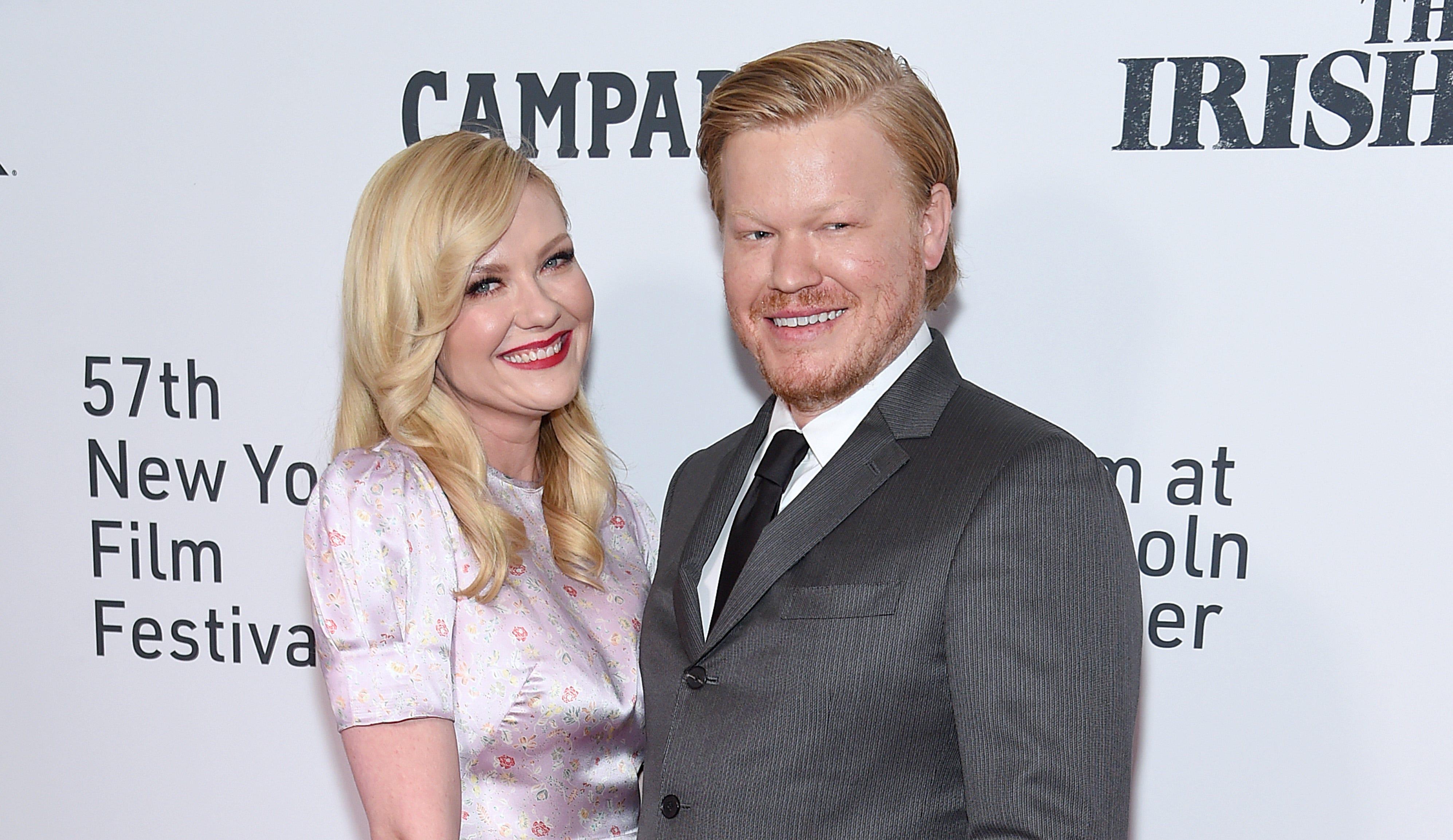 Kirsten Dunst, left, and husband Jesse Plemons in New York in 2019.