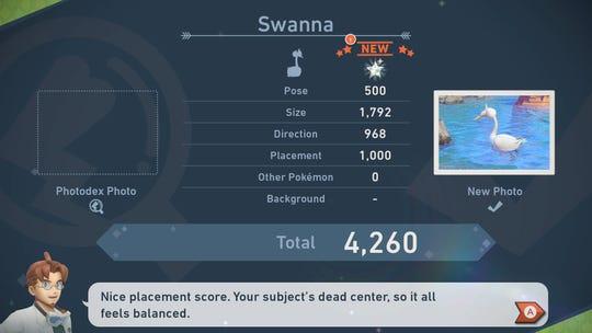 Professor Mirror grades an image of a Swanna in 'Pokemon Snap.'