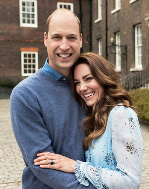 Prince William and Duchess Kate of Cambridge at Kensington Palace photographed this week in London, and released on April 28, 2021, to mark their 10th wedding anniversary on April 29.