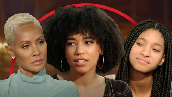 Jada Pinkett Smith (left) and daughter Willow Smith (right) discuss polyamory on this week's 'Red Table Talk' with guest Gabrielle Smith (center).