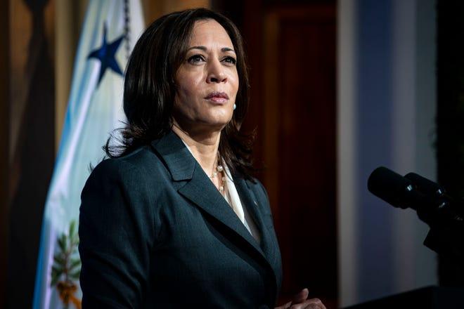 Vice President Kamala Harris, seen here on April 22, responded Thursday to Sen. Tim Scott's assertion that America isn't racist.