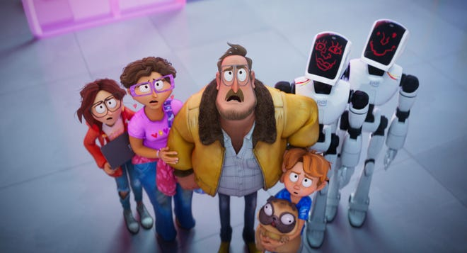 """The Mitchell family - Katie (far left, voiced by Abbi Jacobson), Linda (Maya Rudolph), Rick (Danny McBride) and Aaron (director Mike Rianda) - team up with screwed-up robots Deborahbot 5000 (Fred Armisen) and Eric (Beck Bennett) in the animated comedy """"The Mitchells vs. the Machines."""""""