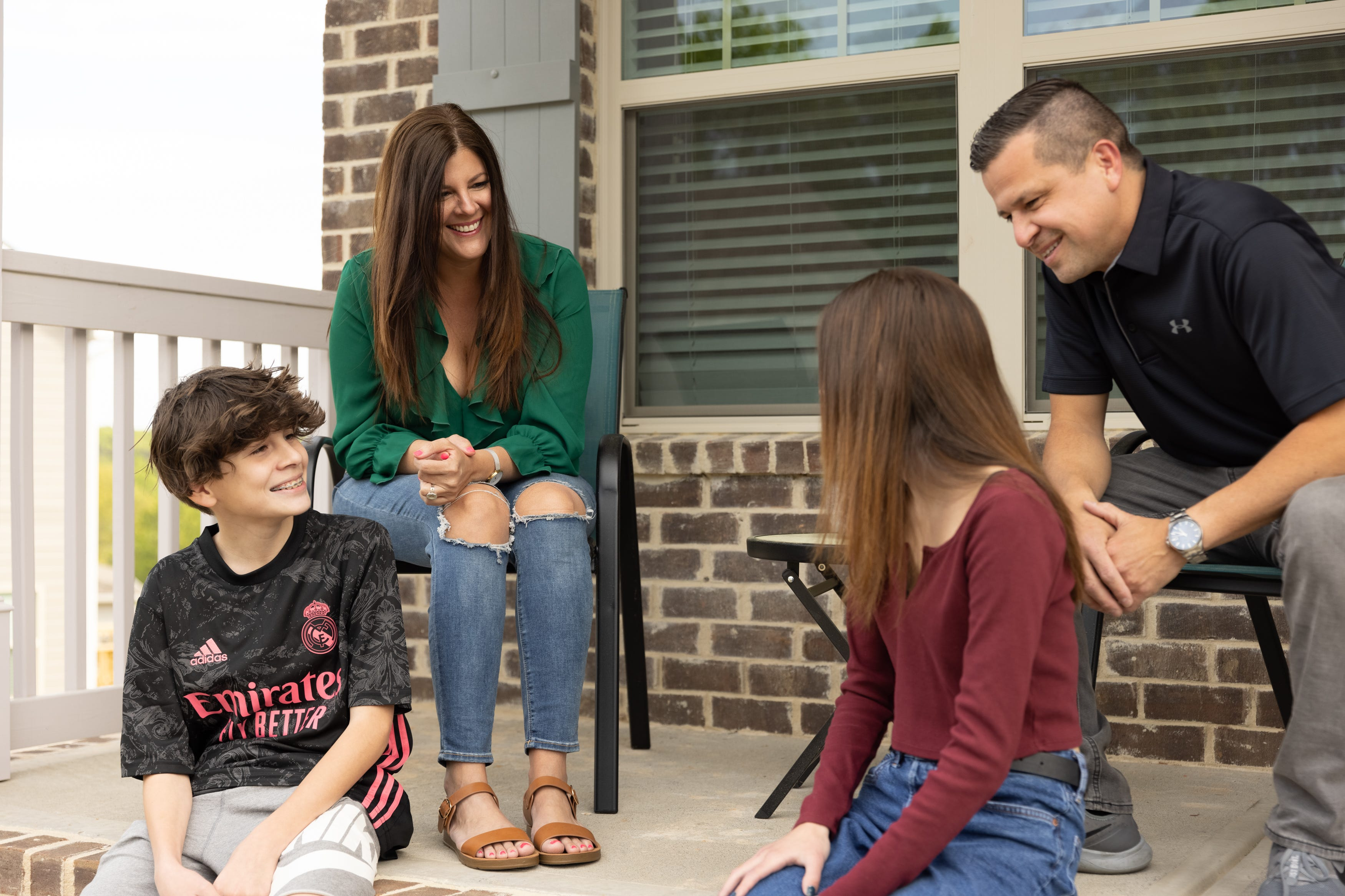 Dennise Cacho, 43, with Cesar Ardila and children Andrés Ardila, 13, and Karyme Ardila, 17 in their rental home. Cacho, a human resources benefits counselor, from Dallas, Ga., sold her last home with Opendoor.