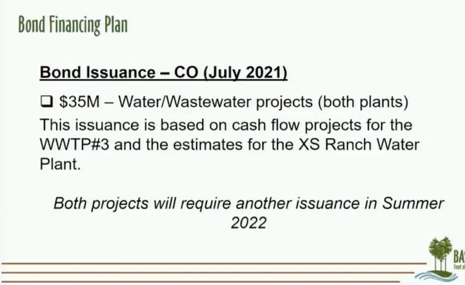 The city of Bastrop plans to issue $35.7 million in certificate of obligation bonds to help build a wastewater treatment plant, a water plant and new fencing in Hunter's Crossing. The new wastewater and water plants would get $35 million of the bond issuance.
