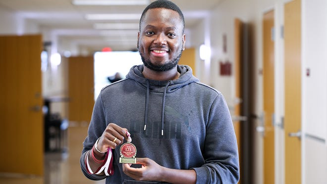 """Erasme da Cruz, a natural sciences graduate student from the Republic of Benin, was given the first WT 125 Research Award for his oral presentation """"Environmental Crisis in the Panhandle of Texas: The Tale of Buffalo Lake."""""""