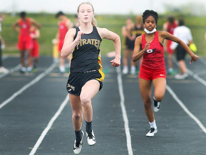 Black River's Riley Kubitz competes in the 100-meter dash during a dual meet against Oberlin Wednesday at Black River High School.