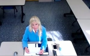 Then-Cass County Assessor Brenda Nelson presents at a Zoom meeting while she was vying for the Ames city assessor job.