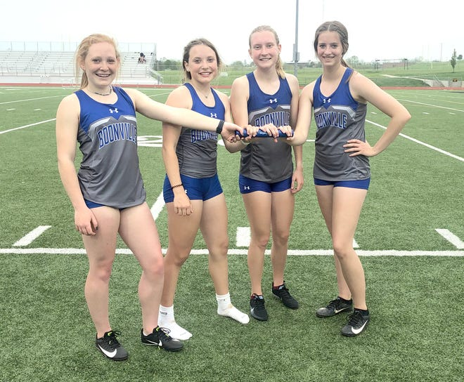 The Boonville girls 4 x 400 meter relay team captured first during the Smith-Cotton Tiger Invitational on Tuesday. Members of the 4 x 400 relay team are (left to right)Kylee Turner, Alison Eichelberger, Olivia Eichelberger and Addy Nichols.