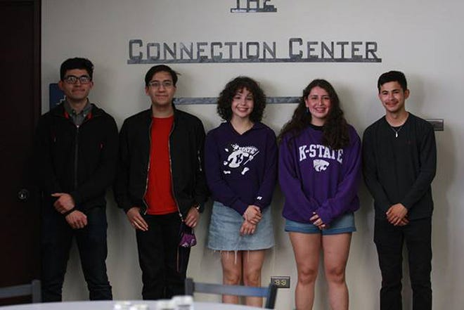 Five DCCC students, who will be transferring to K-State this fall, presented their STEM research projects at the DCCC Library on Monday afternoon. The students, from left to right, are Jesus Becerra, Luis Morales, Anahi Rodriguez, Leslie Rodela and Medel Orozco.