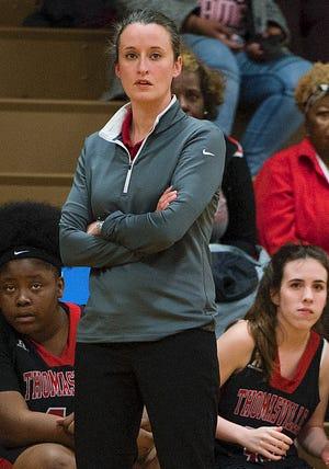 Thomasville girls' basketball coach Ann Ferguson watches her team against West Davidson on Friday night. [DONNIE ROBERTS/THE DISPATCH]