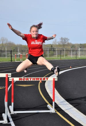 Coldwater's Sarah Forrister gutted her way to a win in the 300 meter hurdles in her first attempt at the event versus Northwest Tuesday