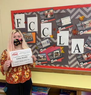 Pictured is Caitlyn Burdick, Western Wayne FCCLA president, who won the Western Wayne FCCLA Chapter Member of the Year Award at a recent virtual Eastern Region FCCLA conference.