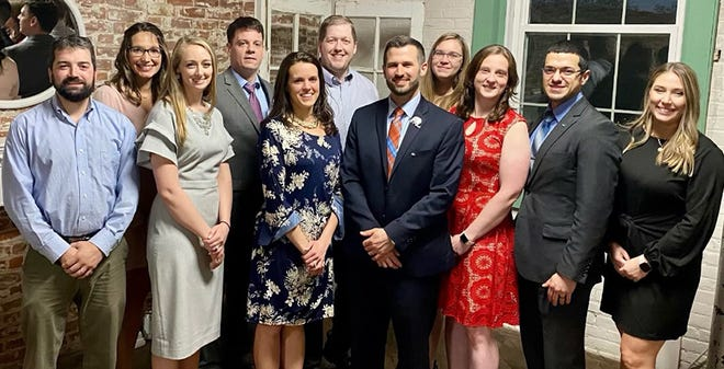 The Honesdale Area Jaycees recently installed new officers for 2021 during a ceremony at Hop Baron's. Pictured here are (from left): Chase Holl, First Vice President; Clare Kerl, Two Year Director; Raynell Lenz, State Director; Brendan Ellis, Second Vice President; Stephanie Schuman, Treasurer; Eric Avery, New Member Director; Steven Daniels, President; Ashley Gibbons, One Year Director; Jess Ellis, Two Year Director; Chris Novoa, Corresponding Secretary; Roz Burke, Recording Secretary. Not pictured: Meghan Gibbons, One Year Director.