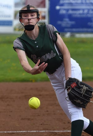Union City pitcher Abigail Tingley delivers a pitch against McDowell in a non-region game Wednesday at the McDowell softball field, Hanlon Sports Complex.