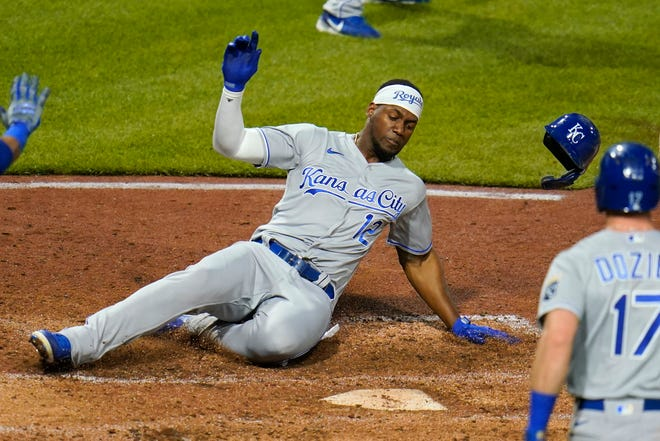 Kansas City Royals' Jorge Soler (12) scores on a two-run double by Andrew Benintendi in the sixth inning of Wednesday's game in Pittsburgh. Soler doubled twice and drove in three runs to help the Royals to a 9-6 victory.