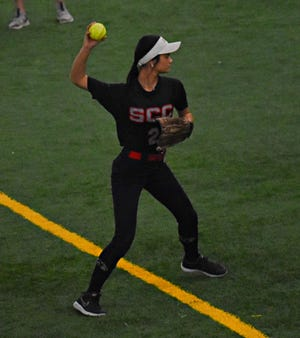 Southeastern Community College second baseman Makayla Cam makes a practice throw between innings of Wednesday's doubleheader against Southwestern at the FunCity Turf. SCC lost the first game 3-0, but won the nightcap 8-5.