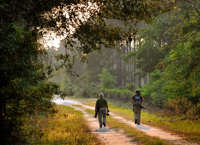 Film producer Elam Stoltzfus (left) and photographer Carlton Ward, Jr. walk back to camp after photographing Black Creek at Camp Blanding during a 1,000-mile journey across the Florida Wildlife Corridor in 2012.