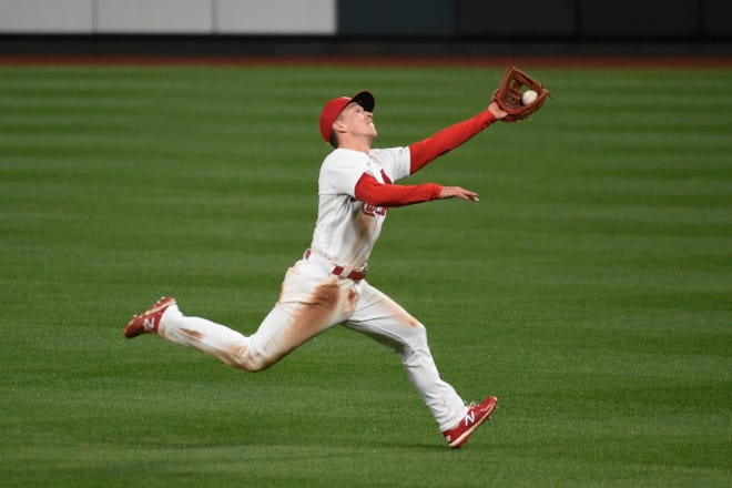 St. Louis Cardinals second baseman Tommy Edman catches a popup by Philadelphia Phillies' Andrew Knapp during the ninth inning of Wednesday's game in St. Louis.