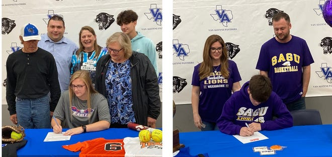 Van Alstyne had two seniors sign their letters of intent. Tinsley Love (left) is headed to Northeast Texas Community College for softball and Nathan Henley will play basketball for Southwestern Assemblies of God.