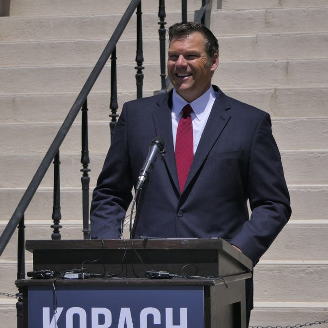 Former Kansas Secretary of State Kris Kobach announces he is running for Kansas attorney general Thursday on the steps of the courthouse in Wichita.