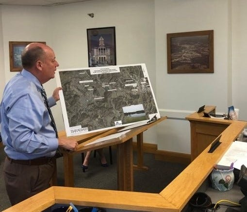 Dan Ferrell, from the Thrasher Group, explains the scope of the new sewage treatment plant project.