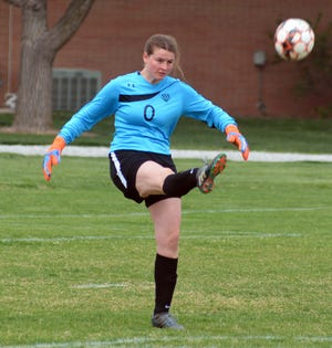 Hesston College goalkeeper Bethany Masters had eight saves in a 2-0 loss to Southeast Community College Wednesday in Jayhawk Conference play in Hesston.