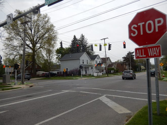 """A new traffic signal has been installed at Second and Northland streets. It is in a flashing red """"test mode"""" now, but will become fully operational on Monday, May 3."""