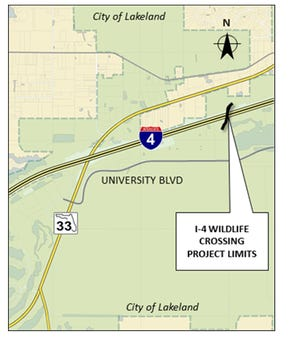 Location of a planned wildlife crossing over Interstate 4