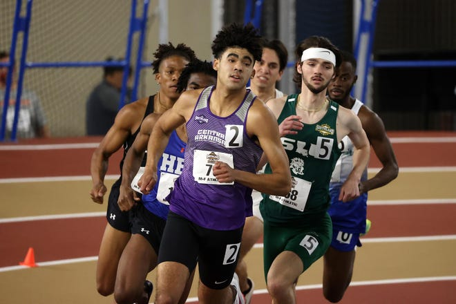 Shown is TJ Robinson competing for the University of Central Arkansas during the 2021 indoor track and field season.